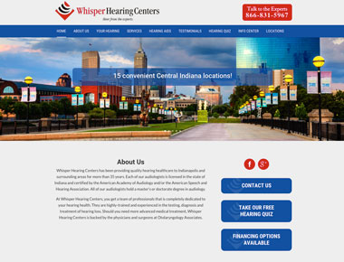 Whisper Hearing Centers Web Design