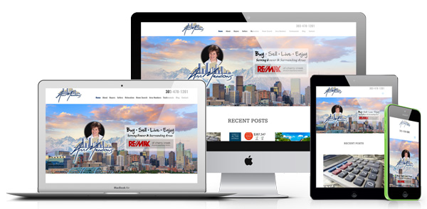 Example of different responsive views for real estate agent websites on desktop, laptop, table and mobile devices. Links to live site example for Ann Meadows Real Estate.