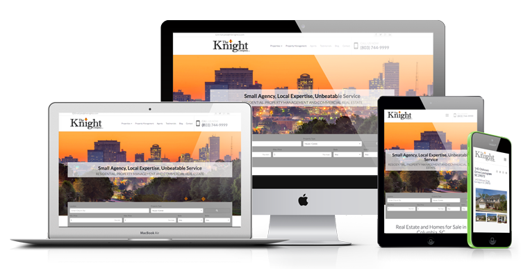 Different responsive views for real estate agent websites on desktop, laptop, table and mobile devices.