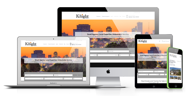Example of different responsive views for real estate agent websites on desktop, laptop, table and mobile devices. Links to live site example for Knight Company Real Estate.